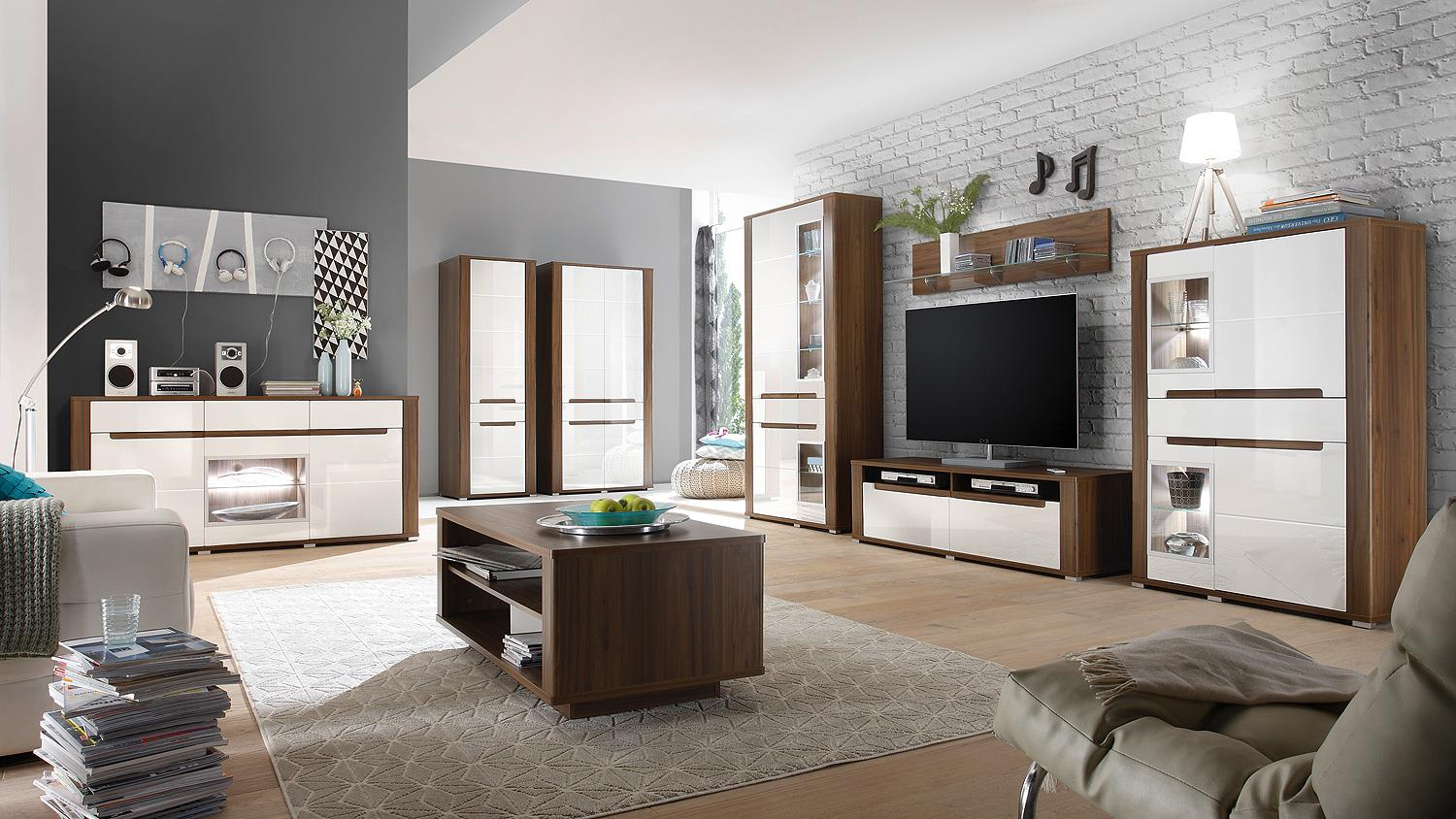 wohnwand neapoli canyon walnuss wei hochglanz inkl led. Black Bedroom Furniture Sets. Home Design Ideas