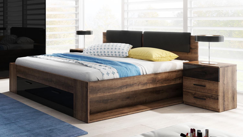 bett galax in eiche monastery schwarz mit schubkasten. Black Bedroom Furniture Sets. Home Design Ideas