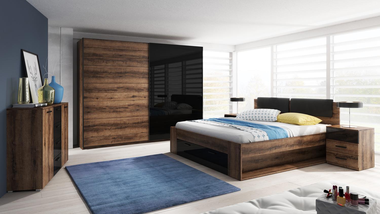 schlafzimmer set galax 4 teilig in eiche monastery schwarz hochglanz. Black Bedroom Furniture Sets. Home Design Ideas