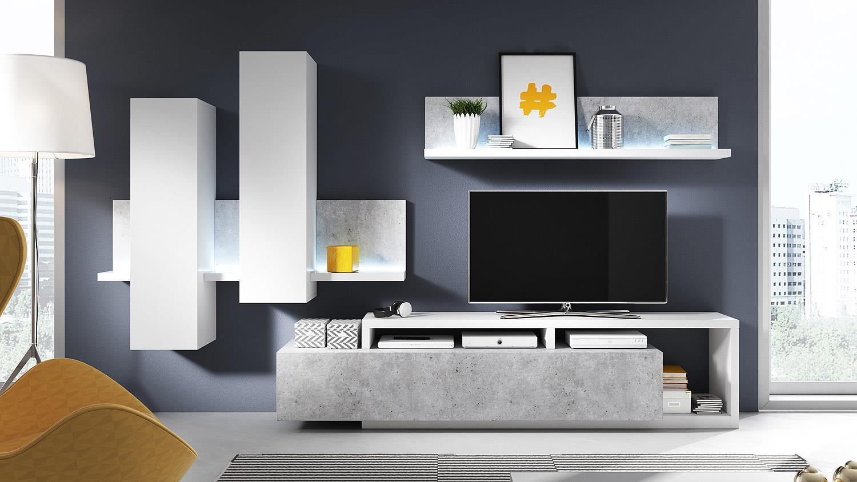 wohnwand bota anbauwand wohnkombi wohnzimmer in wei und beton mit led. Black Bedroom Furniture Sets. Home Design Ideas