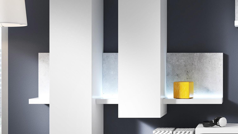 wohnwand bota anbauwand wohnkombi wohnzimmer in wei und. Black Bedroom Furniture Sets. Home Design Ideas