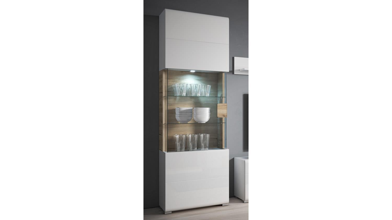 vitrine toledo standvitrine in wei hochglanz und eiche san remo hell. Black Bedroom Furniture Sets. Home Design Ideas