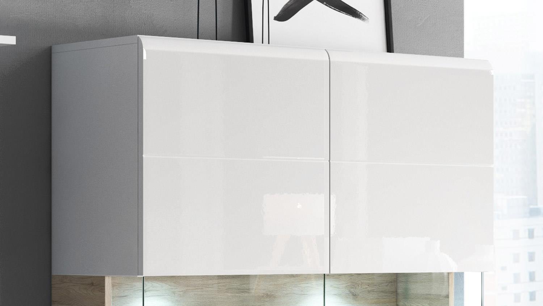 highboard toledo schrank in wei hochglanz und eiche san remo hell. Black Bedroom Furniture Sets. Home Design Ideas
