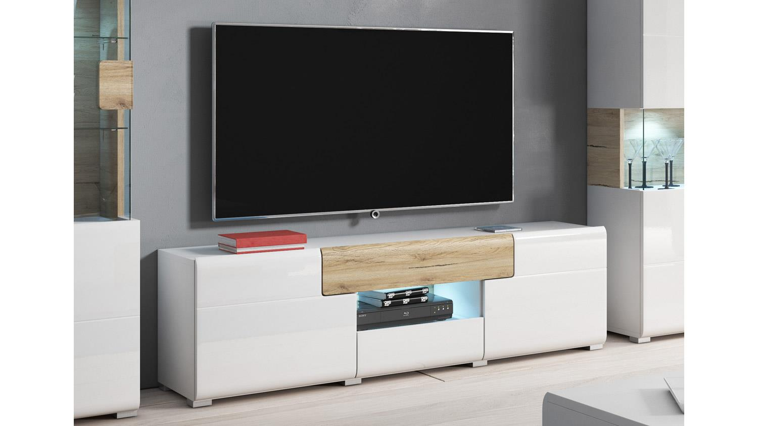 tv board toledo lowboard in wei hochglanz und eiche san remo hell. Black Bedroom Furniture Sets. Home Design Ideas