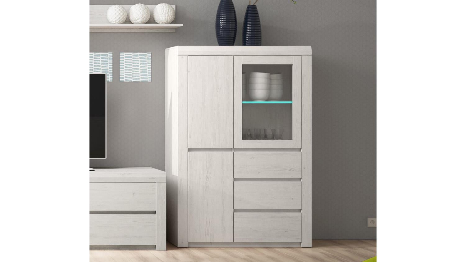 highboard monica ii hochkommode schrank 3 t rig in anderson pine wei. Black Bedroom Furniture Sets. Home Design Ideas