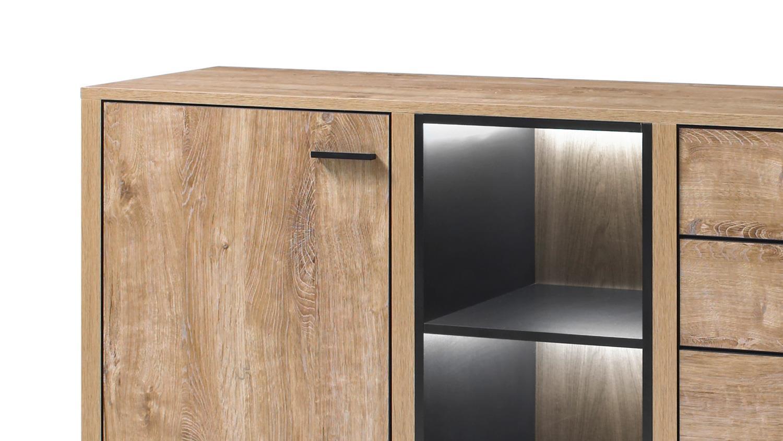 Sideboard 2 WIDIN Anrichte Kommode Wohnzimmer Schrank in Eiche schwarz