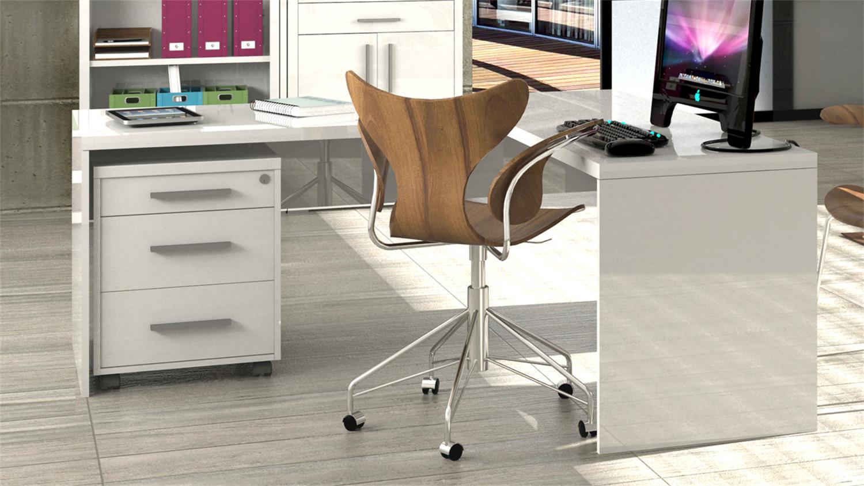 Schreibtisch büro weiß  STAMPA Schreibtisch KRONOS in weiß hochglanz lackiert