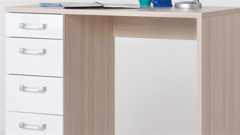 Schreibtisch CALISMA in weiß hochglanz lackiert und Coimbra Esche