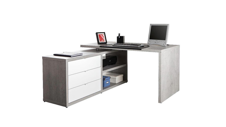 Schreibtisch pratico in beton wei hochglanz lack for Schreibtisch 150