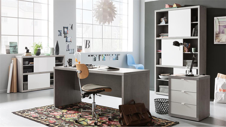 Büromöbel weiss hochglanz  1 PRATICO Büromöbel in beton weiß Hochglanz Lack