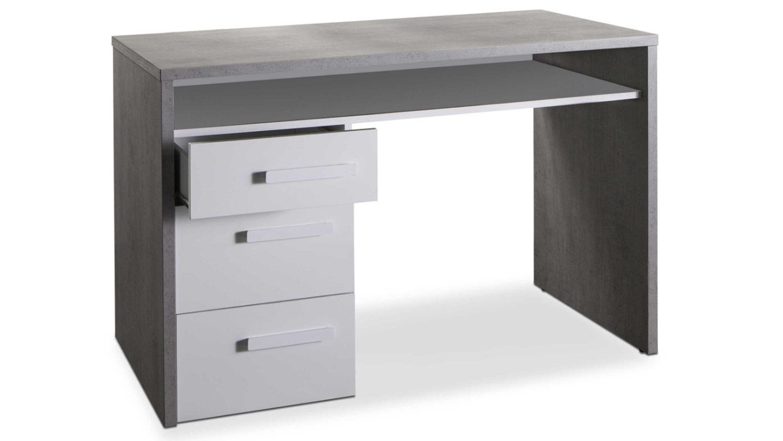 Schreibtisch mipiace beton dekor grau hochglanz wei for Schreibtisch hochglanz grau
