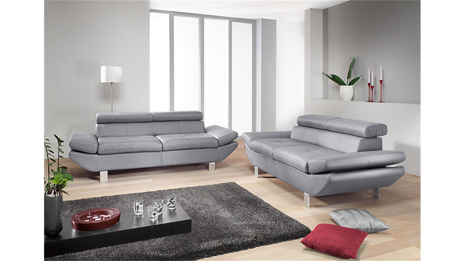 Sofa Garnitur Carrier Polstermobel Mit Relaxfunktion In Grau