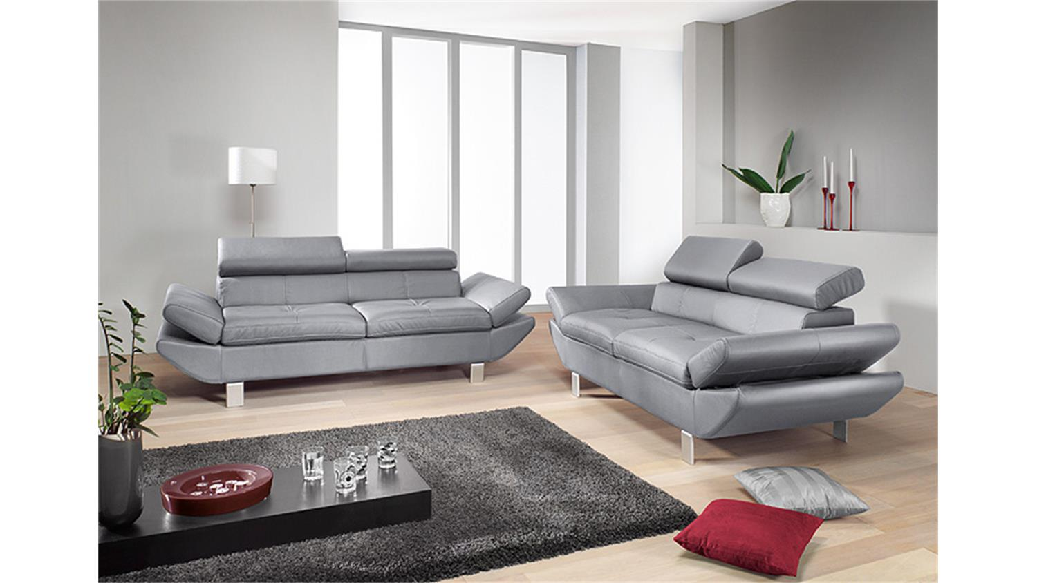 sofa garnitur carrier polsterm bel mit relaxfunktion in grau. Black Bedroom Furniture Sets. Home Design Ideas