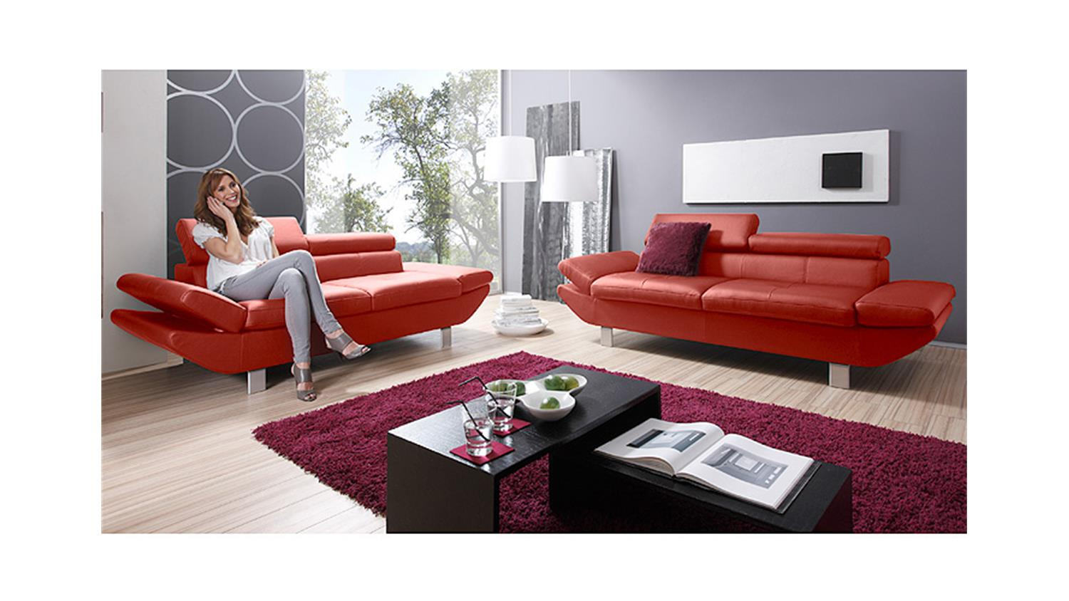 sofa garnitur carrier polsterm bel mit relaxfunkion in rot. Black Bedroom Furniture Sets. Home Design Ideas