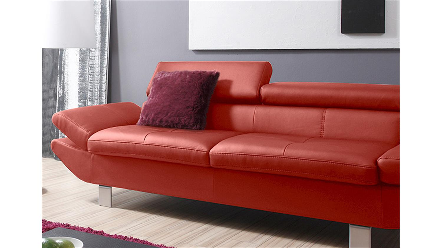Sofa garnitur carrier polsterm bel mit relaxfunkion in rot for Sofa garnitur