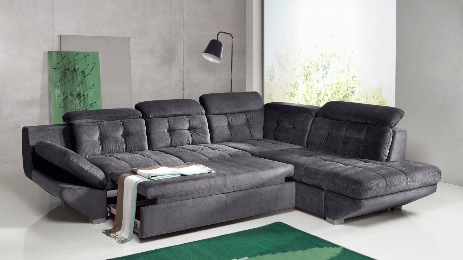Ledercouch anthrazit  ETERNITY Sofa in Anthrazit mit Bettfunktion