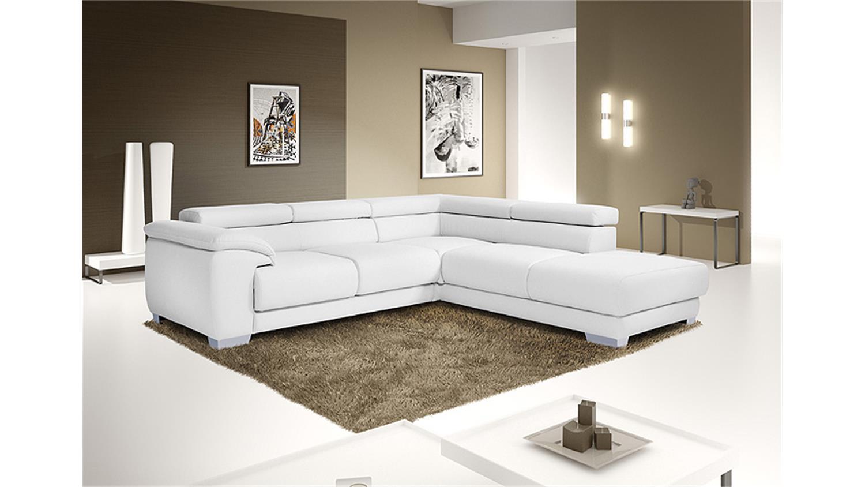 Wohnlandschaft VENTURA Ecksofa Sofa in weiß mit Funktion