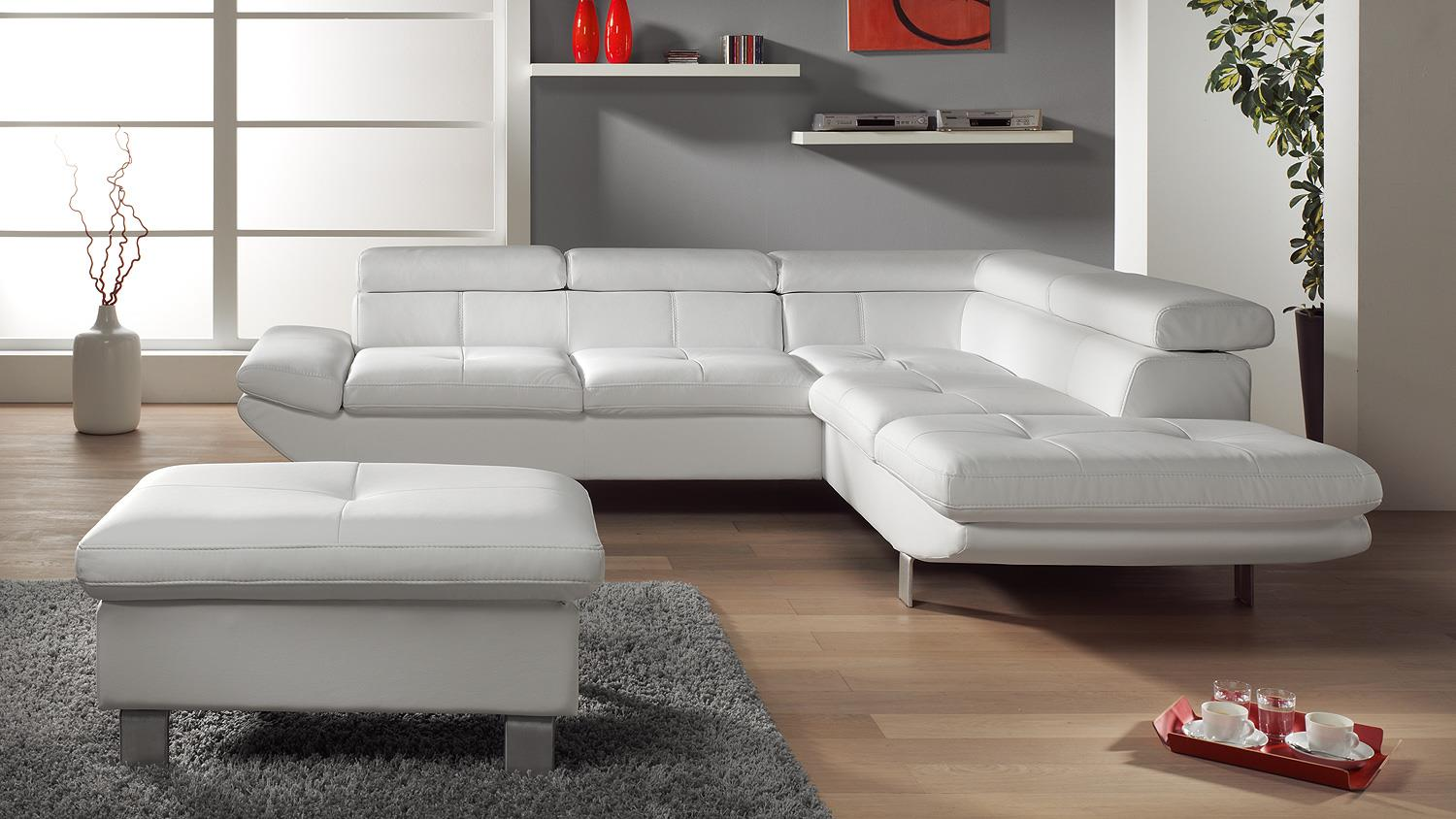 Wohnlandschaft carrier sofa in wei mit bettfunktion for Sofa mit bettfunktion