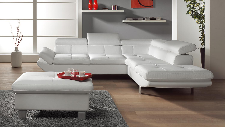 wohnlandschaft carrier sofa in wei mit bettfunktion. Black Bedroom Furniture Sets. Home Design Ideas