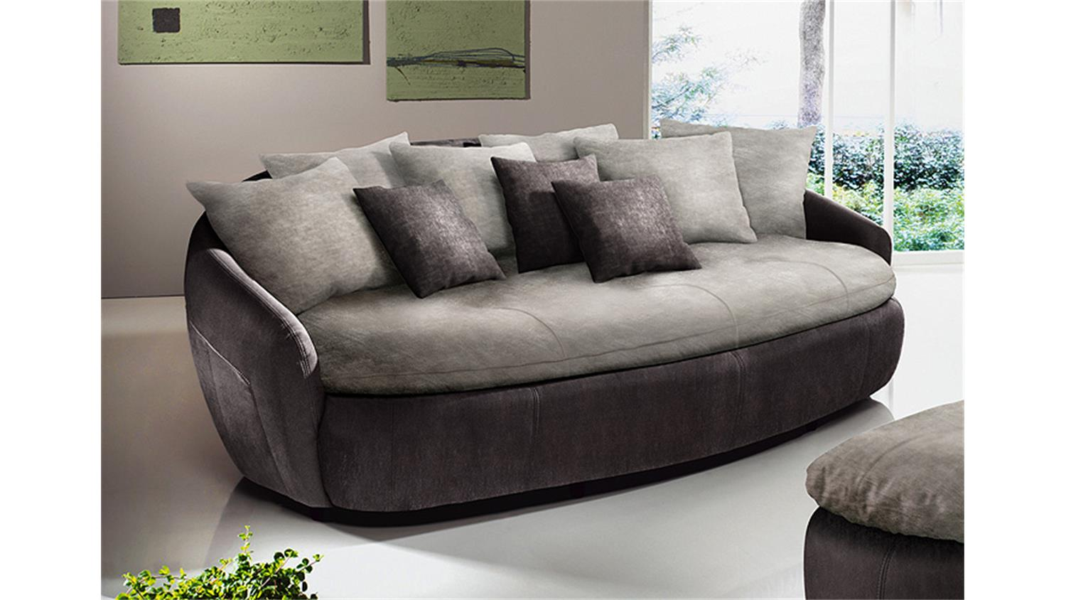 megasofa aruba 2 sofa in mud braun und elephant grau. Black Bedroom Furniture Sets. Home Design Ideas