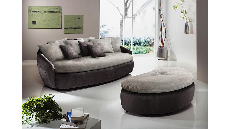 Megasofa grau  ARUBA 2 Sofa in mud braun und elephant grau
