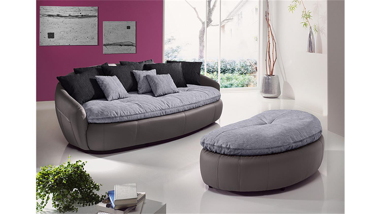 Ledersofa schwarz kissen  ARUBA 2 Sofa Bigsofa in grau schwarz inkl. Kissen