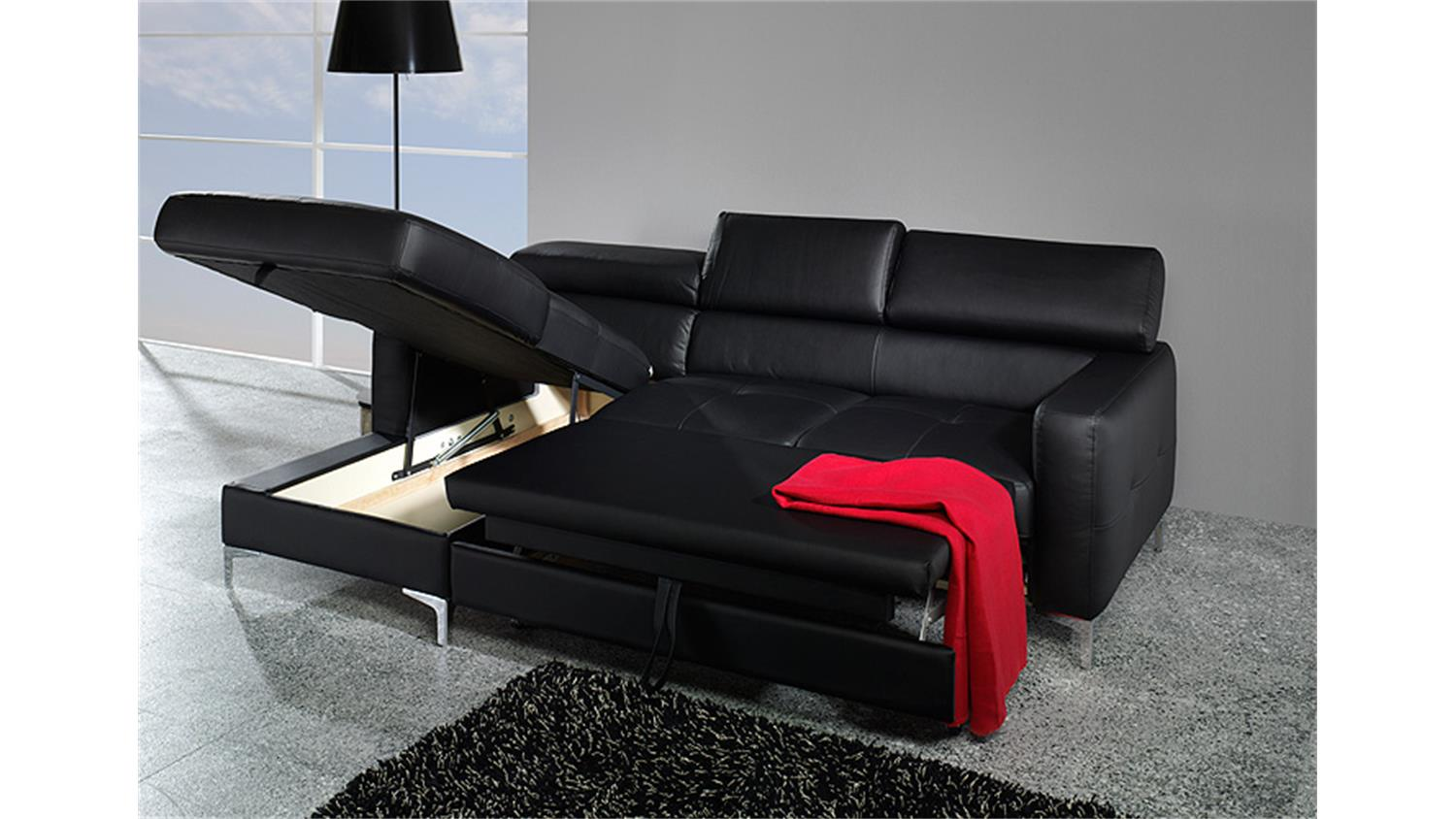 ecksofa sammy sofa polsterecke schwarz mit bettfunktion. Black Bedroom Furniture Sets. Home Design Ideas