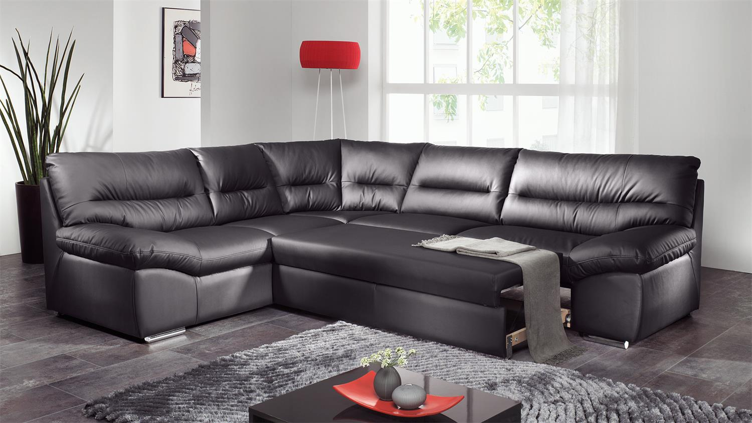 ecksofa william polsterecke sofa schwarz mit bettfunktion. Black Bedroom Furniture Sets. Home Design Ideas