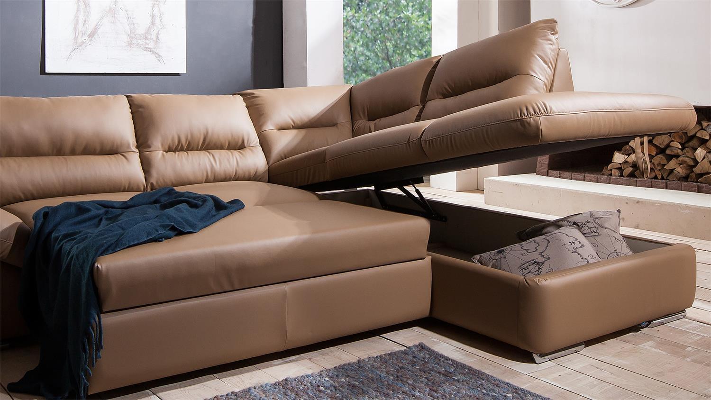 ecksofa william polsterecke sofa bettfunktion nougat braun. Black Bedroom Furniture Sets. Home Design Ideas