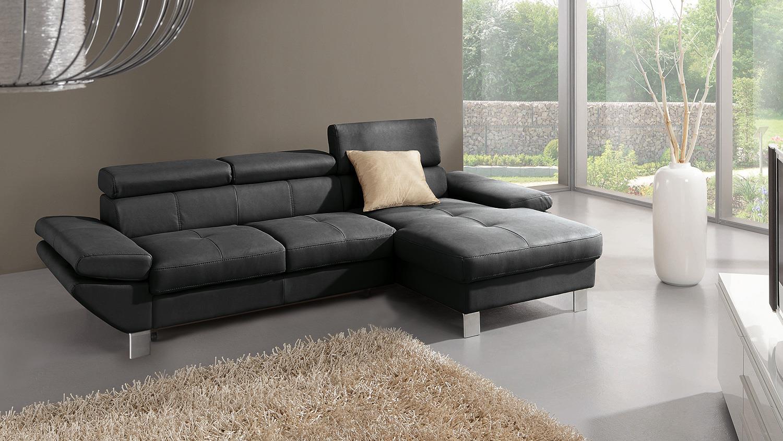 Ecksofa CARRIER Sofa Polsterecke in schwarz Bettfunktion