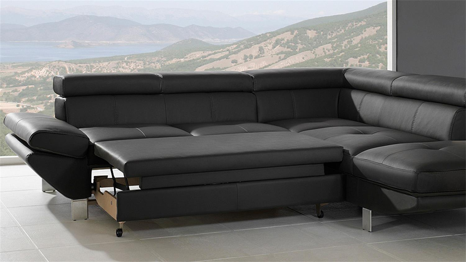 wohnlandschaft carrier sofa in schwarz mit bettfunktion. Black Bedroom Furniture Sets. Home Design Ideas
