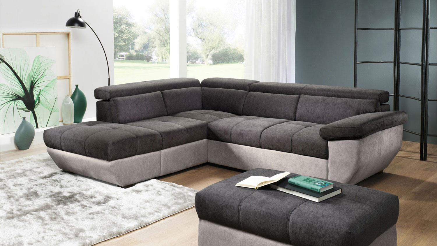 ecksofa speedway stoff grau braun inkl nosagfederung 262x224 cm. Black Bedroom Furniture Sets. Home Design Ideas
