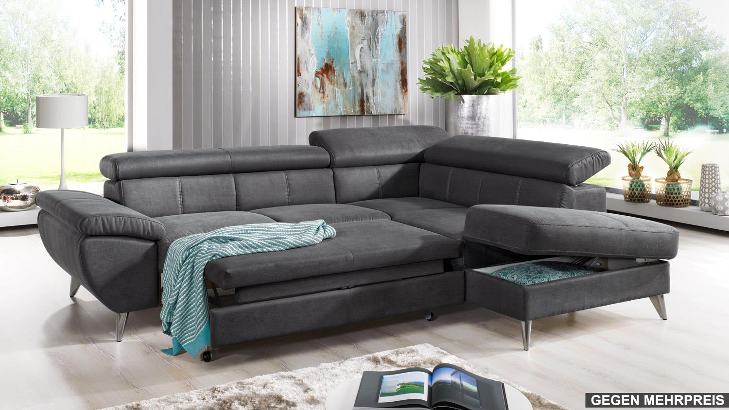 ecksofa finca wohnlandschaft sofa in anthrazit mit. Black Bedroom Furniture Sets. Home Design Ideas