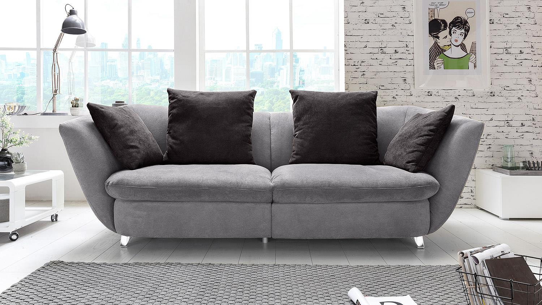 megasofa modern sofa bigsofa polstersofa in grau und schwarz 244x115. Black Bedroom Furniture Sets. Home Design Ideas