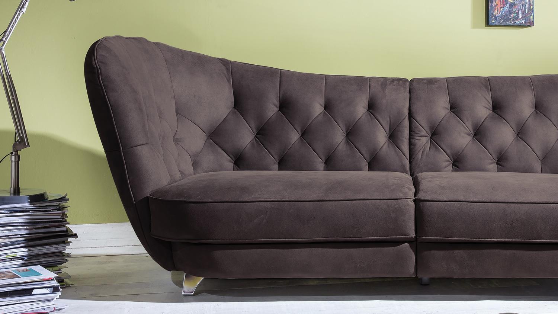 Ecksofa vintage look  Megasofa RETRO Vintage Look Sofa 3-Sitzer Microfaser braun
