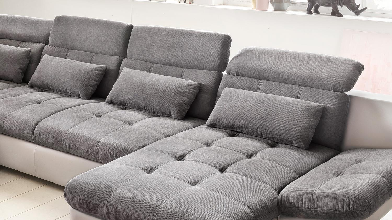 wohnlandschaft eternity ecksofa wei grau kopfteilverstellung 383x255. Black Bedroom Furniture Sets. Home Design Ideas