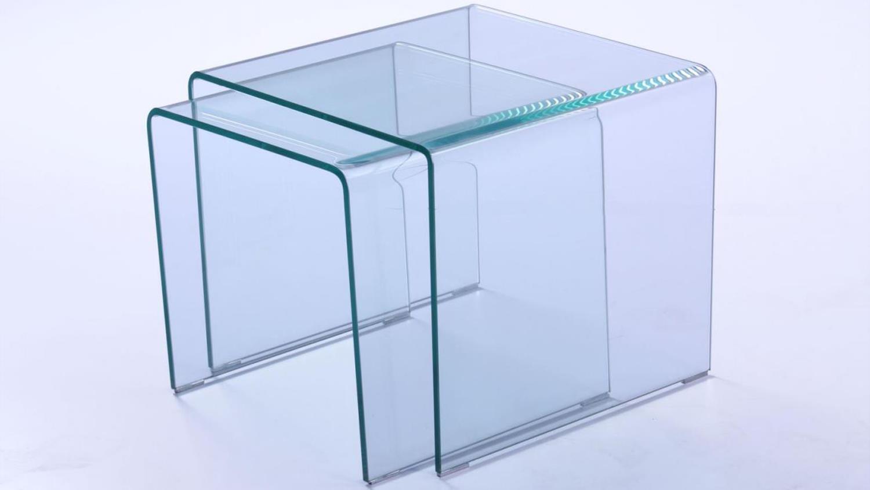 beistelltisch er set cecile glastisch klarglas  mm