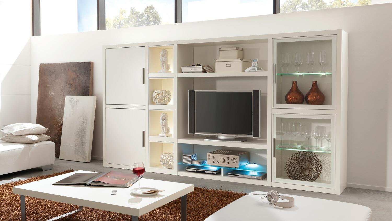 Wohnwand COMOS Anbauwand Wohnzimmer in weiß von CS Schmal