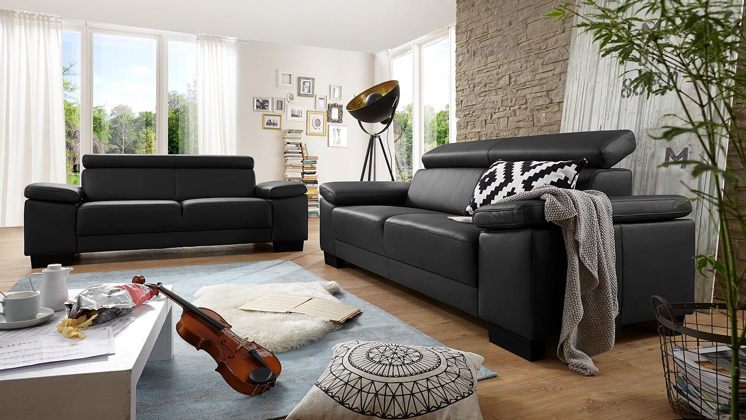 sofa santiago dreisitzer in leder schwarz mit funktion 226. Black Bedroom Furniture Sets. Home Design Ideas