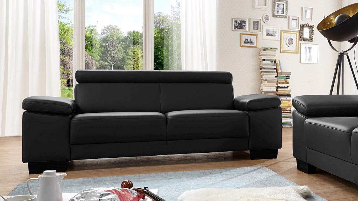Sofa santiago garnitur in leder schwarz mit funktion for Sofa garnitur