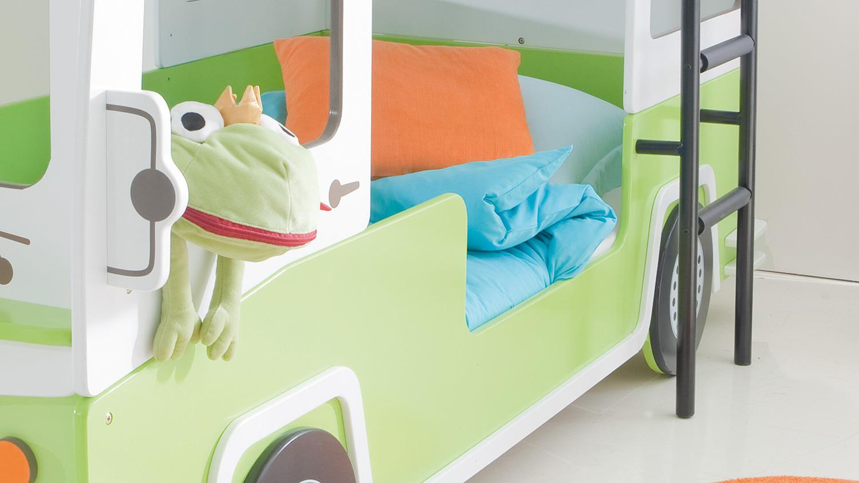 Etagenbett Autobus : Etagenbett bussy autobus hochbett in mdf weiß grün lackiert