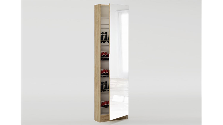 schuhschrank zapatero schrank mit spiegel sonoma eiche dekor. Black Bedroom Furniture Sets. Home Design Ideas