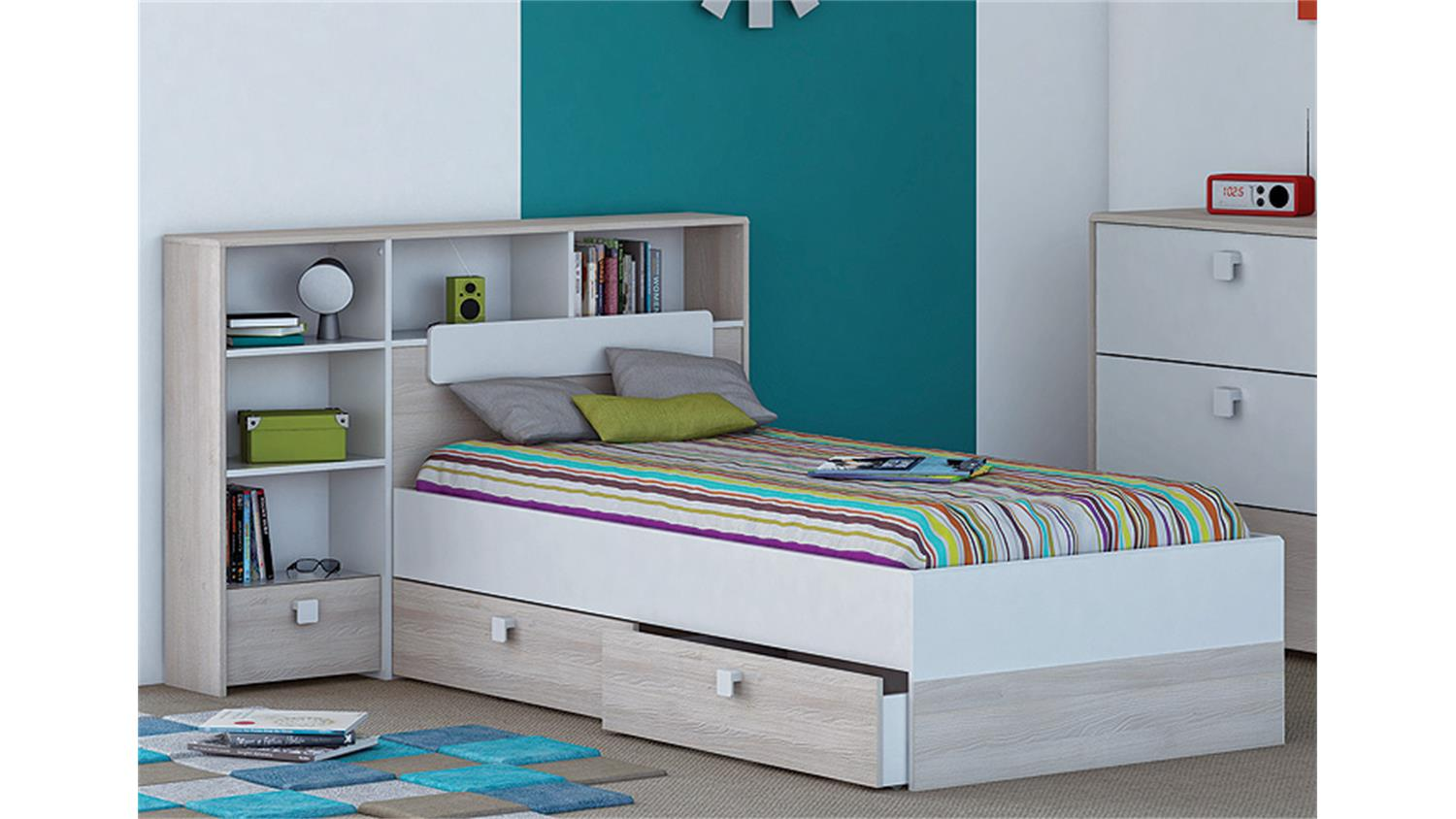 bett kombi game inkl bettumbau wei und akazie 90x190 cm. Black Bedroom Furniture Sets. Home Design Ideas