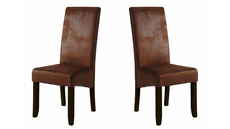 stuhl sagua 2er set polsterstuhl bezug in vintage braun. Black Bedroom Furniture Sets. Home Design Ideas