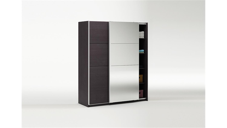 schwebet renschrank slidy schrank ebenholz braun mit spiegel. Black Bedroom Furniture Sets. Home Design Ideas