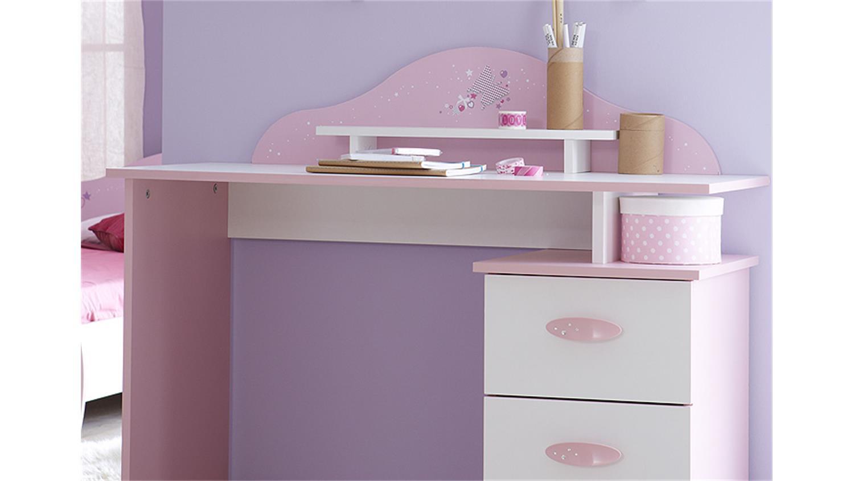 Schreibtisch papillon kinderzimmertisch orchidee rosa wei for Schreibtisch rosa