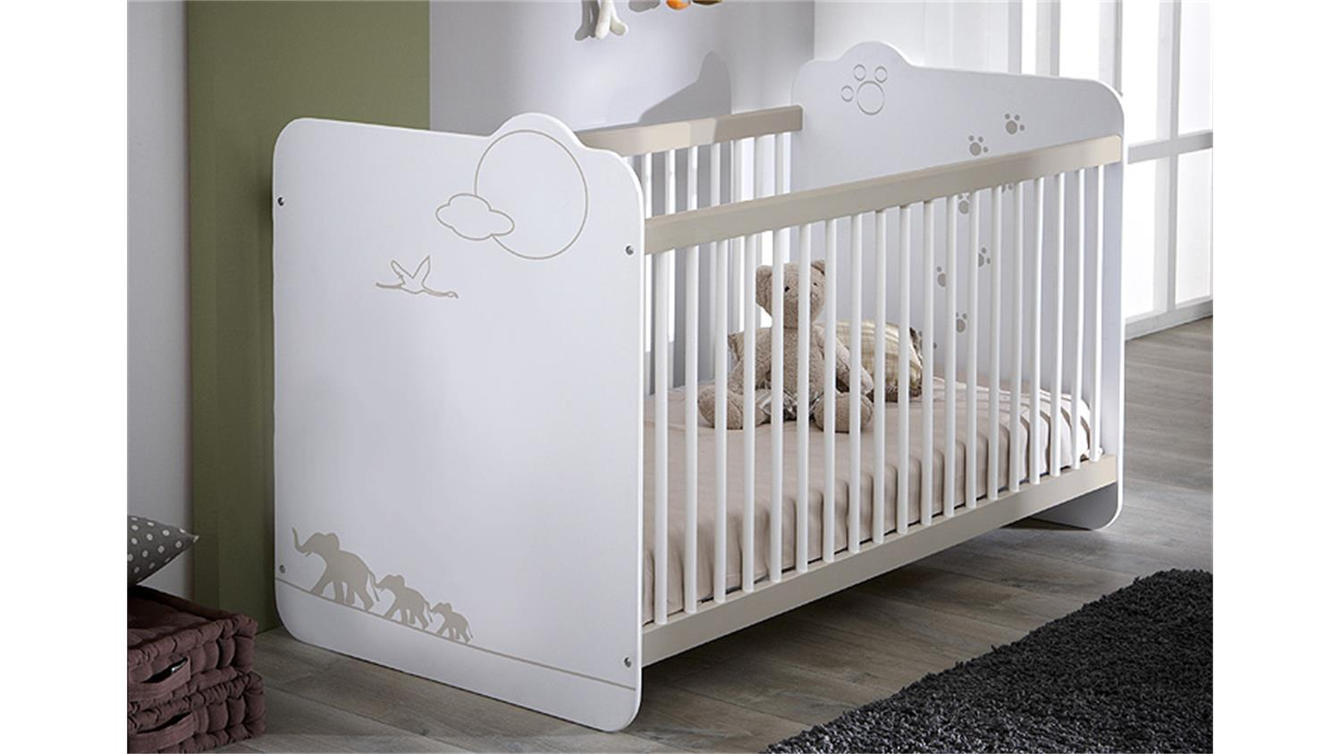 babybett jungle kinderbett bett in wei mit dschungelmotiv. Black Bedroom Furniture Sets. Home Design Ideas