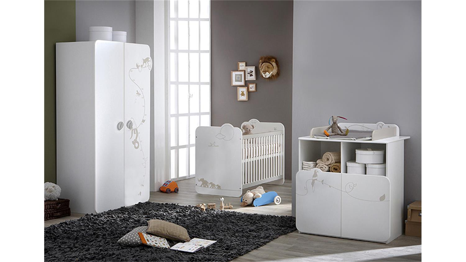 babyzimmerset jungle kinderzimmer wei mit dschungelmotiv. Black Bedroom Furniture Sets. Home Design Ideas