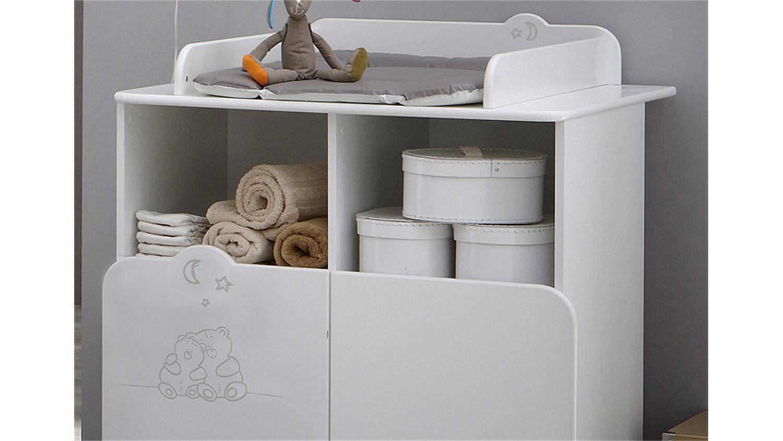 wickeltisch teddy wickelkommode wei mit teddymotiv. Black Bedroom Furniture Sets. Home Design Ideas