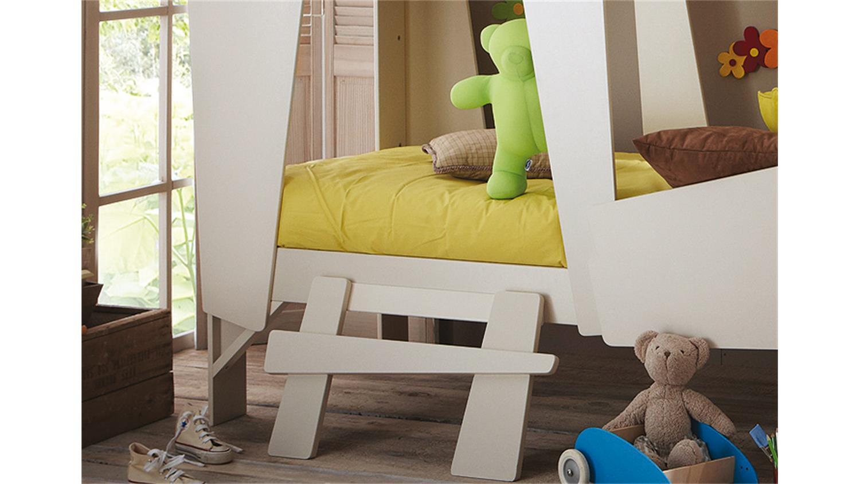 Super Hochbett CABANE Kinderbett taupe beige inkl. Leiter Rollrost WS75